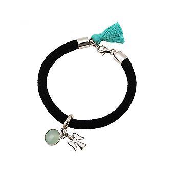 Women - bracelet - 925 Silver - gemstone - Aqua chalcedony - Angel - Green - Black