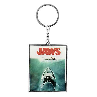 JAWS Keyring - classic movies-the shark silver, white metal, on header card.