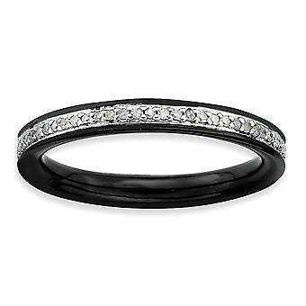 Sterling Silver Polished Prong set Ruthenium plating Stackable Expressions and Diamonds Black-plated Ring - Ring Size: 5