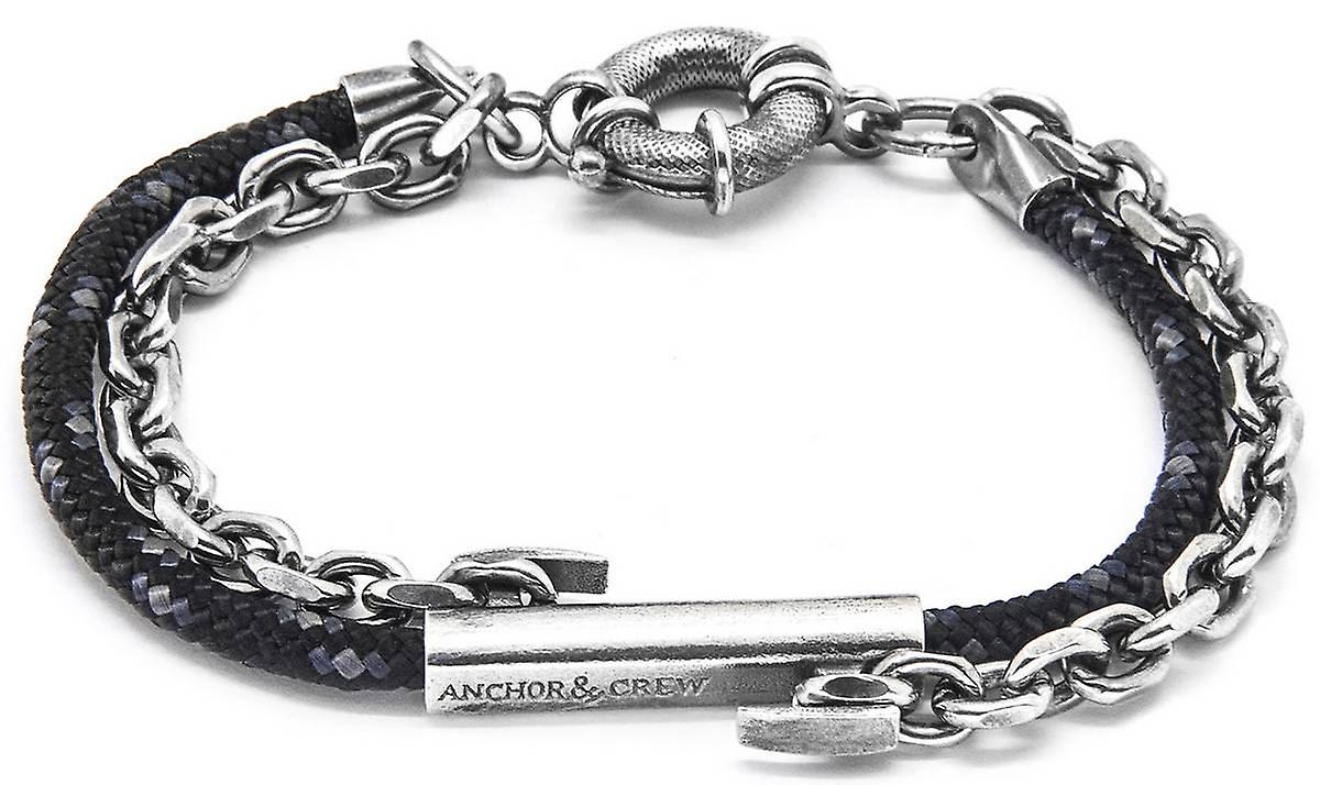 Anchor and Crew Belfast Silver and Rope Bracelet - Black