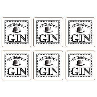 Gentleman's Gin Set of 6 Coasters, White