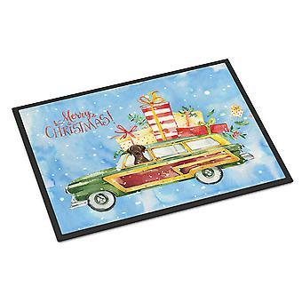 Merry Christmas Chocolate Labrador Retriever Indoor or Outdoor Mat 18x27