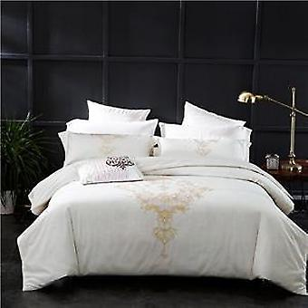 1000 Tc-white Embroidered Egyptian Quilt Cover,flat Bed Sheet Pillowcases  Set