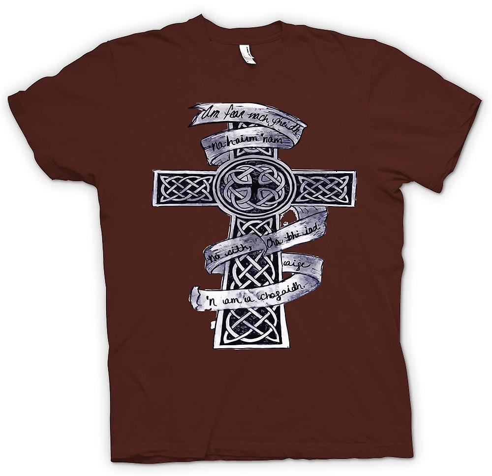 Mens t-skjorte-keltisk kors Tribal Tattoo