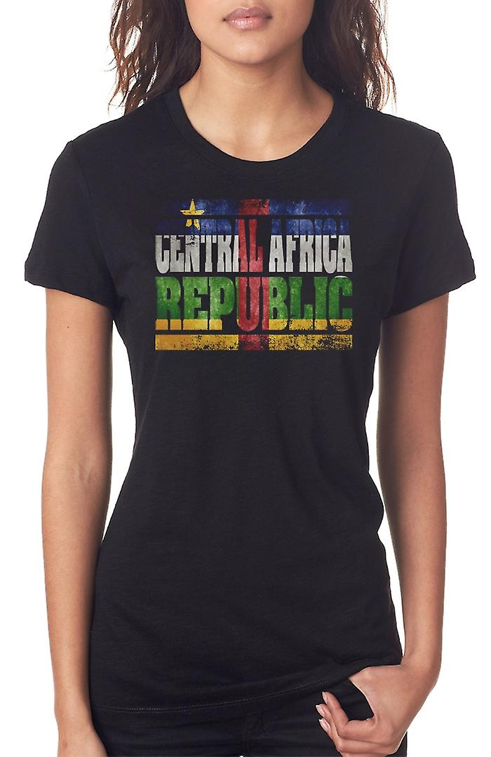 Central Africa Republic_ Flag - Words Ladies T Shirt