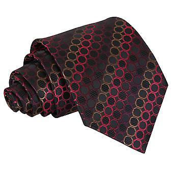 Black, Red & Bronze Honeycomb Polka Dot Classic Tie