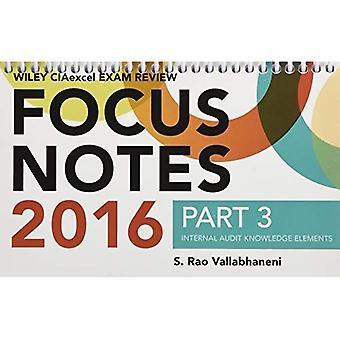 Wiley CIAexcel esame recensione 2016 Focus note: Audit interno conoscenza elementi parte 3 (Wiley CIA Exam Review Series)