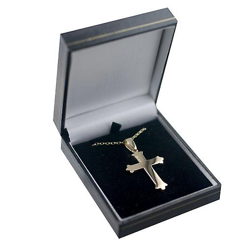 9ct Gold 37x26mm Fancy embossed pattern Cross with a belcher chain