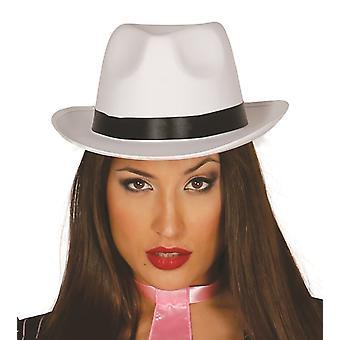Witte satijn Gangster hoed met lint Fancy Dress accessoire