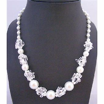 White Pearl Necklace With Clear Glass Beads Necklace Fancy Beautiful Necklace Under $10 Neckalce