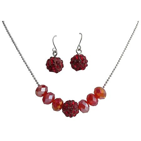 Affordable Red Crystals Bridesmaid Jewelry Set