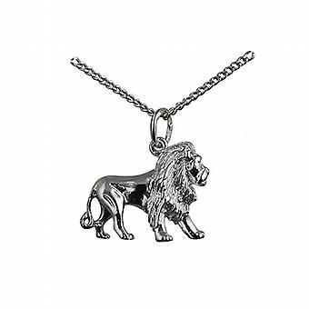 Silver 15x20mm Lion Pendant with a curb Chain 24 inches
