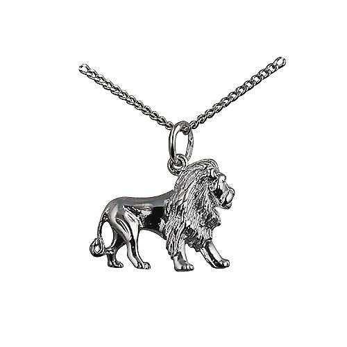 Silver 15x20mm Lion Pendant with a curb Chain 18 inches