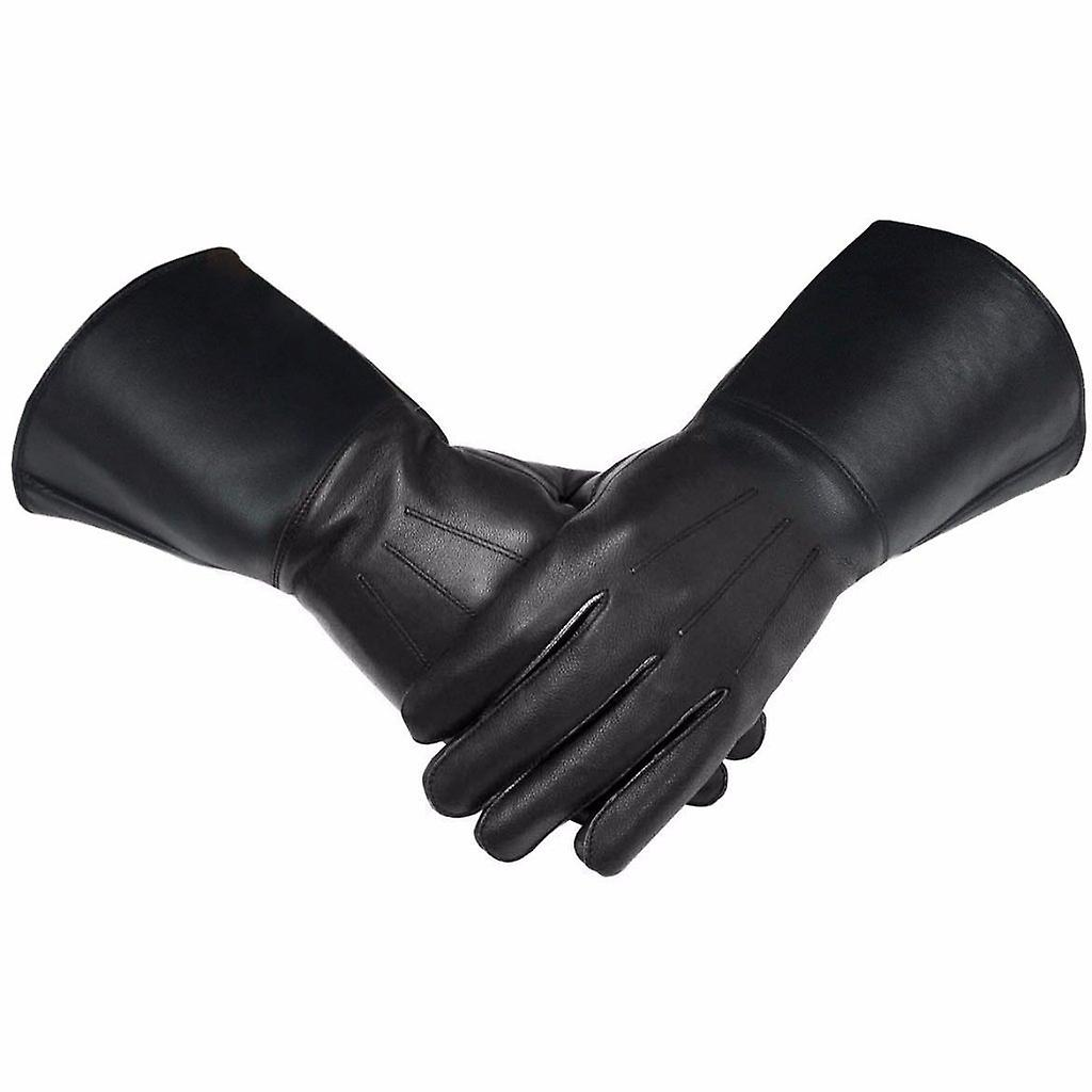 Masonic Piper Drummer Leather Gauntlets/Gloves Black Soft Leather Knight Templar