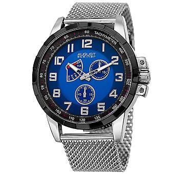 August Steiner Men's Quartz Quartz Stainless Steel Mesh Silver-Tone Bracelet Watch AS8202SSBU