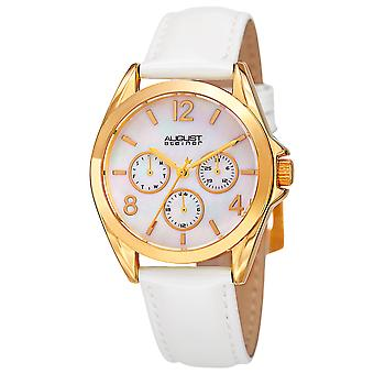 August Steiner Women's AS8191YGW Multifunction Crystal Accented Quartz Watch with Mother of Pearl Dial and Leather Strap