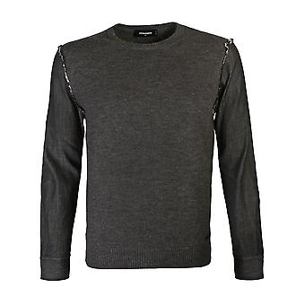 Dsquared2 Grey Knit Pullover With Denim Sleeves