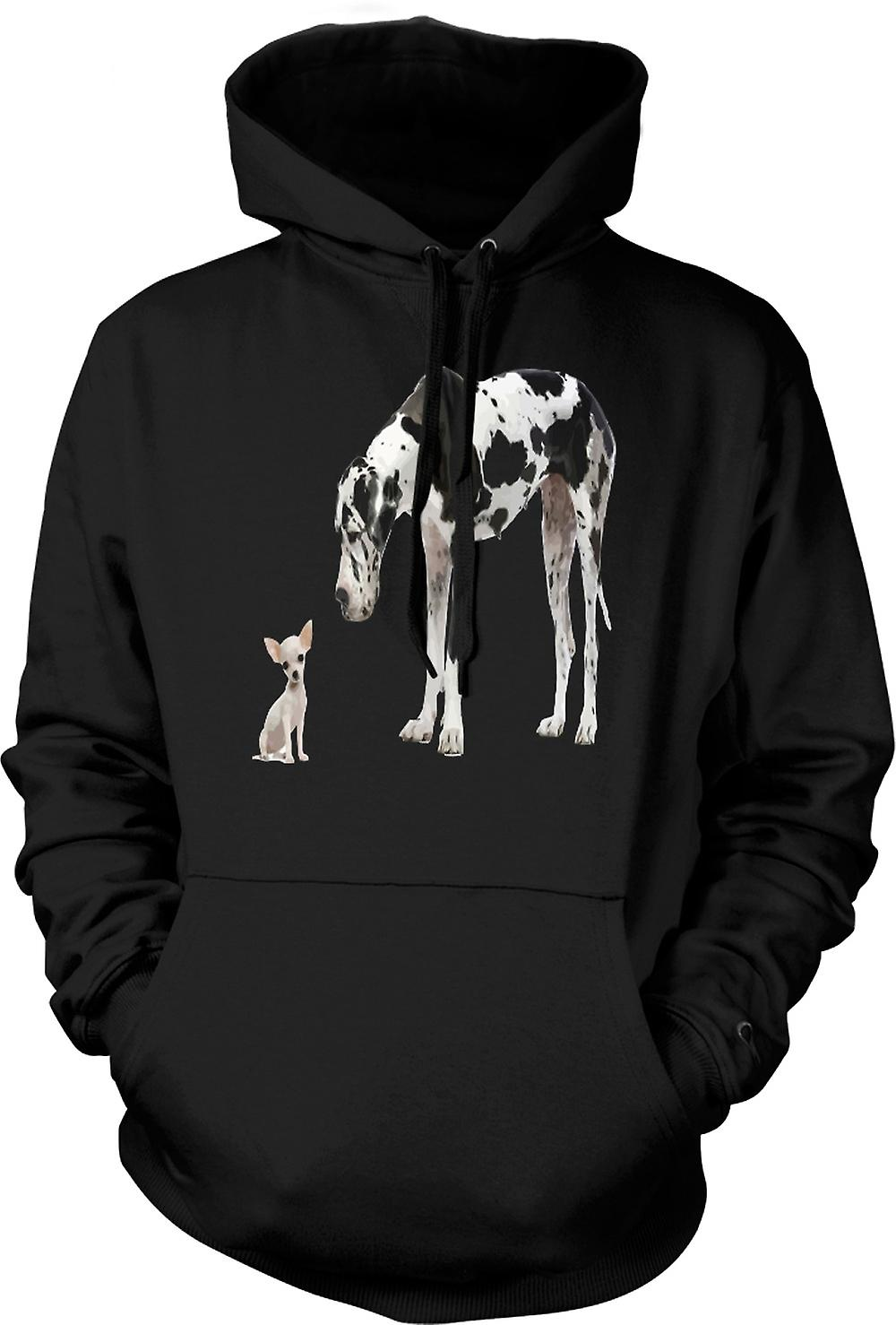 Mens Hoodie - Great Dane And Chihuahua Cut Pet Dogs