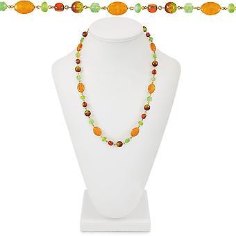 Ewige Sammlung Belize Orange und grün Böhmisches Glas 26 Zoll Goldton Perlenkette