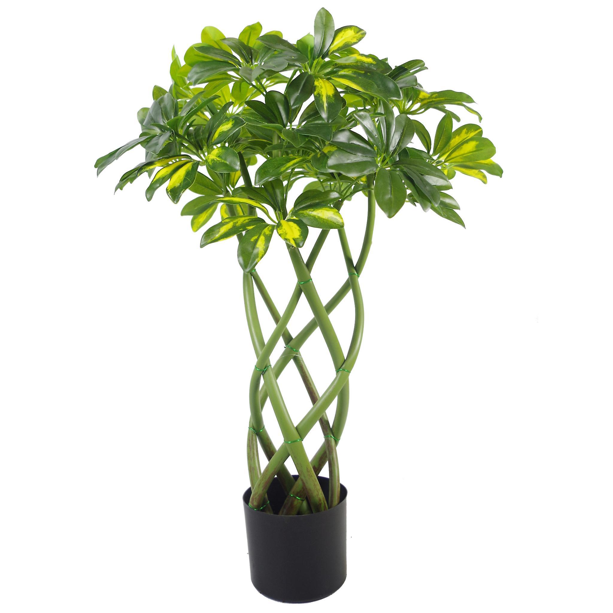 70cm Artificial Twisted Stem Gold Capella Arboricola Artificial Plant Bonsai Bush