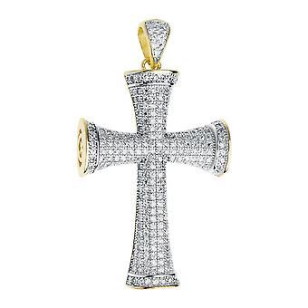 Premium Bling - 925 Sterling Silber Kreuz Anhänger gold