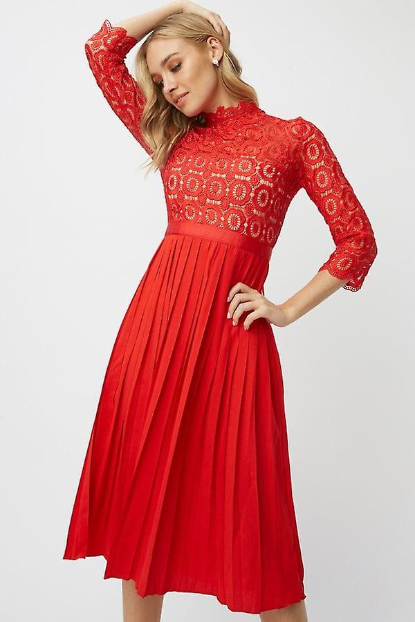 Petite Maîtresse Alice rouge Crochet Top Midi Robe avec jupe plissée