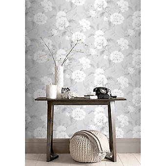 Rasch Boutique Flower Pattern Fond d'écran Floral Leaf Botanical Metallic Pencil Motif 226188