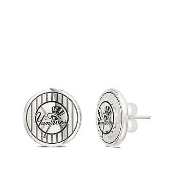 New York Yankees Pinstripe Hat Logo Stud Earrings