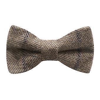 Luxe lichte kaki bruin visgraat-Check strikje, Tweed