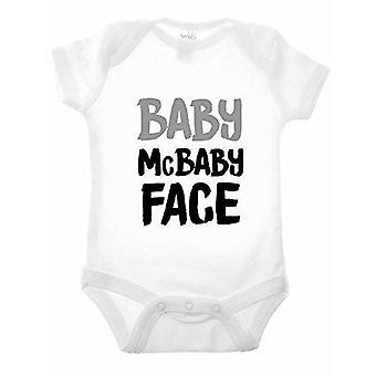 Reality glitchbaby mcbaby face white short sleeve babygrow