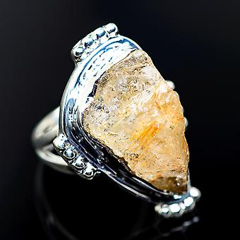 Rough Rutilated Quartz Ring Size 6.25 (925 Sterling Silver)  - Handmade Boho Vintage Jewelry RING971068