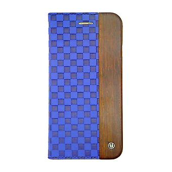 iPhone 6/6s - 4.7 Inch Mode Wooden Checker Embossed Blue Folio Hard Shell
