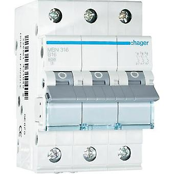 Circuit breaker 3-pin 16 A Hager MBN316