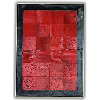Rugs -Patchwork Leather Cubed Cowhide - Red Acid with Black Border