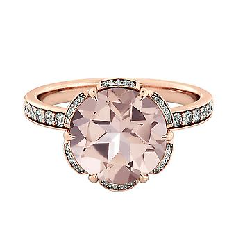 2,50 CTW naturlige fersken/Rosa VS Morganite Ring med diamanter 14k Rose Gold blomst Vintage Halo