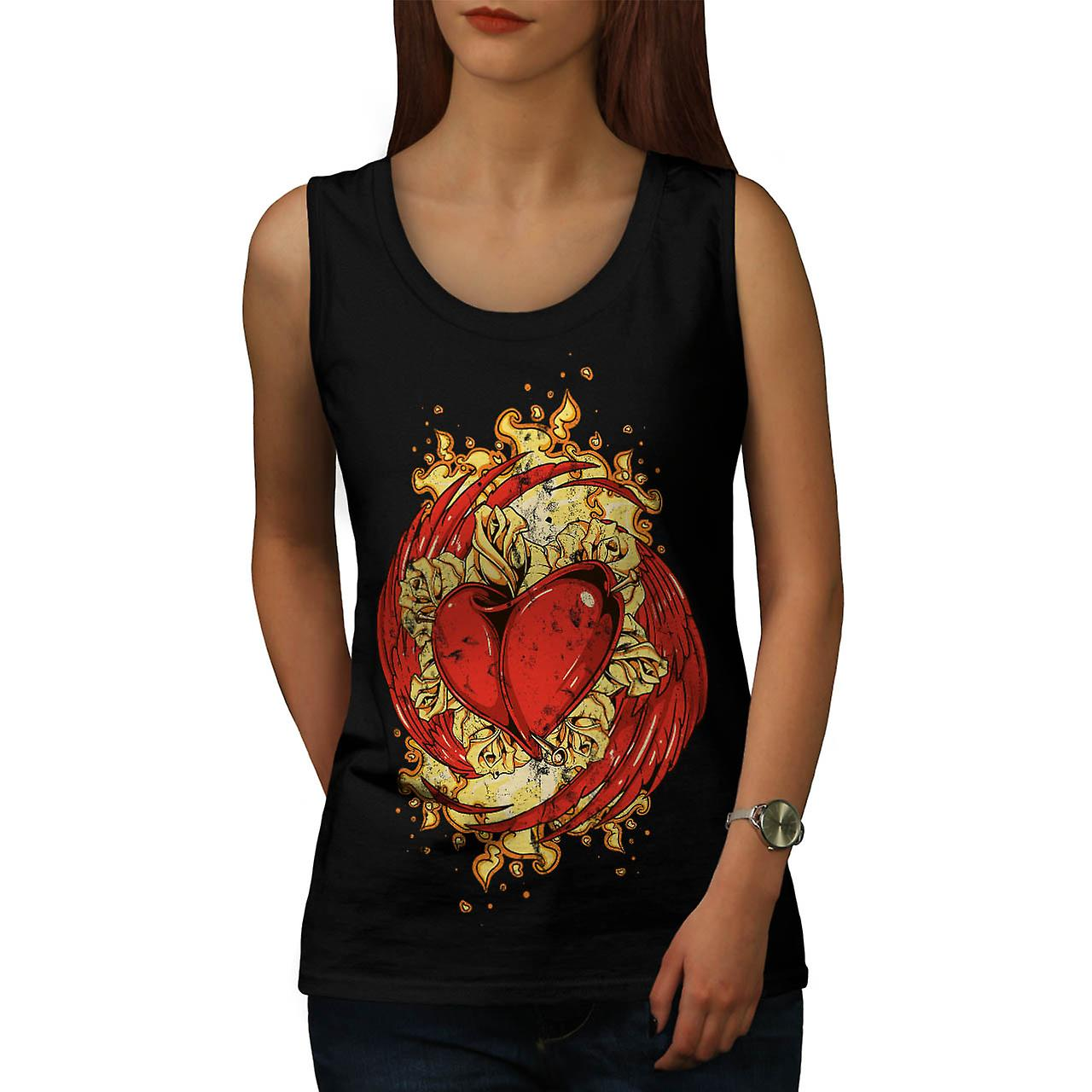 Love Heart Wing Lust Beat Organ Women Black Tank Top | Wellcoda