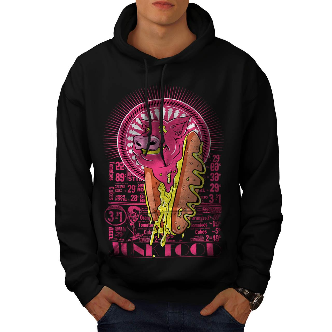 Hot Dog Junk Fashion Food Men Black Hoodie | Wellcoda
