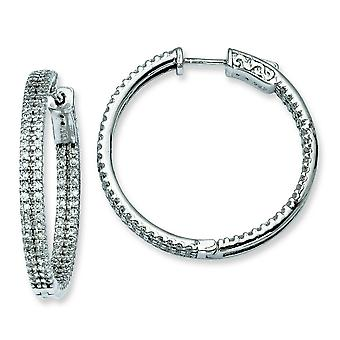 Sterling Silver 1.2 inch diameter CZ Hoop Earrings