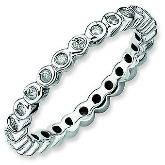 Sterling Silver Stackable Expressions Diamond Ring - Ring Size: 5 to 10