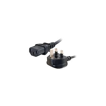 C2g Universal Power Cord power cable-BS 1363 (male) to IEC 60320 C13 (m)-1 m-molded-black