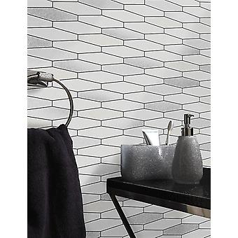 Tile Wallpaper Brick Effect Glitter Washable Vinyl Kitchen Bathroom White Black