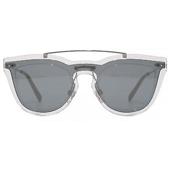 Valentino Keyhole Double Lens Sunglasses In Transparent & Mirror