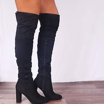 Koi Couture Ladies Kd11 Black Faux Suede Over The Knee Stretch Heeled Boots