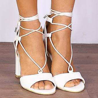 Shoe Closet White Wrap Around Heels - DB74 Faux Leather Wrap Round Strappy Sandals High Heels