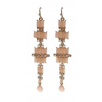W.A.T Pink Pastel Pearl And Crystal Long Square Drop Fashion Earrings