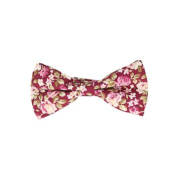 Snobbop-bound fly red floral loop cotton bow tie