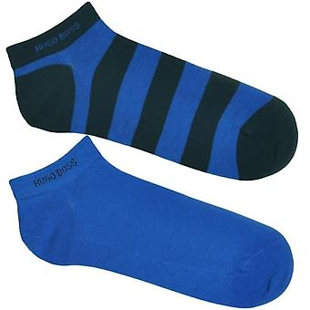 HUGO BOSS 2 Pack Sneaker Cotton Logo Socks, Navy / Stripe, 39/42