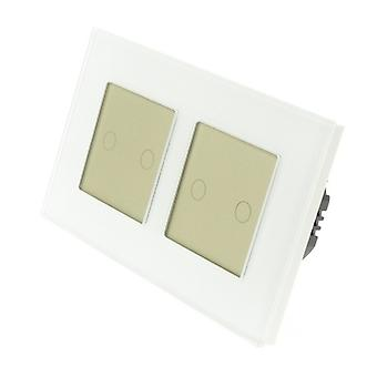 I LumoS White Glass Double Frame 4 Gang 1 Way Touch LED Light Switch Gold Insert
