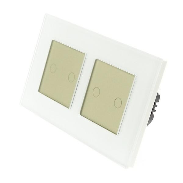 I LumoS blanc Glass Double Frame 4 Gang 2 Way WIFI 4G Remote Touch LED lumière Switch or Insert
