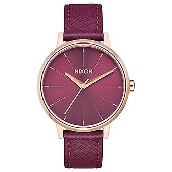 Nixon The Kensington Leather Watch - Rose Gold/Purple